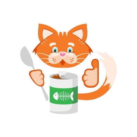 Vector illustration. Orange cat holds in its paws a jar of food and a spoon.