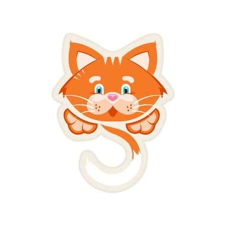 Vector illustration. Sticker. Orange cat with a big face, tail and paws. White background.
