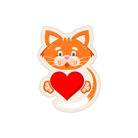 Vector graphic illustration. Sticker. Orange cat holding  big red heart in paws.