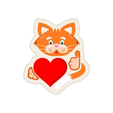 Vector graphic illustration. Sticker. Orange cat holding heart and he like it.