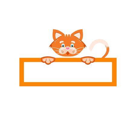 Vector illustration. Sticker. Orange cat holds a rectangular frame.