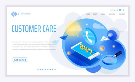 template for website and app. Customer, client care and support. Helpline numder. Personal user service and relationship. Isometric illustration concept for your landing page, banner.