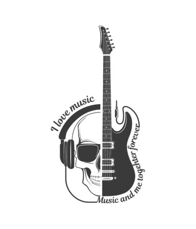 Vector of rock music. Electric guitar and skull. Concept graphic design of emblem, element, template, symbol, label, sign, poster or print for t-shirt.
