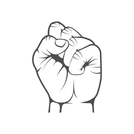 Vector graphic. Hand clenched into a fist. Emblem, element, label, sign, gesture.