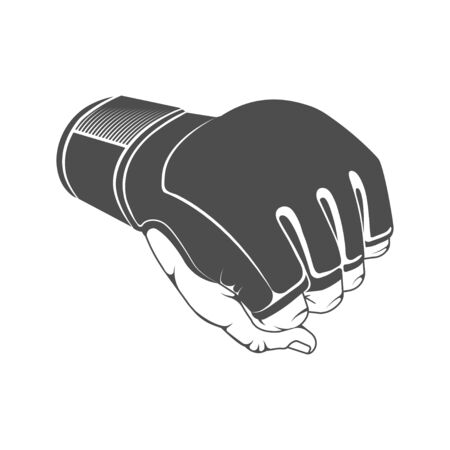 Hand in boxing glove. Fist, boxing, mma, kickboxing, kick. Illustration