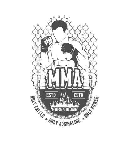 MMA. Silhouette, emblem, label, element, mix of martial arts. Battle, show, training center, the boxing club to train fighter.