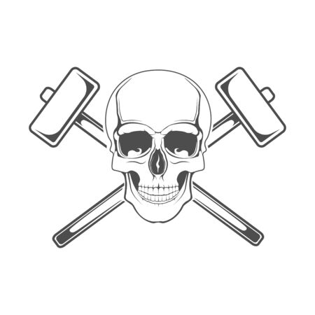 Vector flat. Skull and hammer. Element for printing on the shirt.
