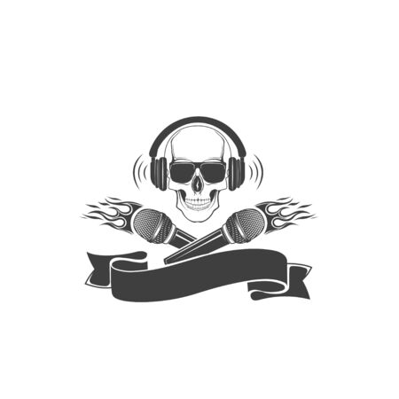 Skull and microphone, vector. Template for printing on t-shirt. Element, sticker, label.
