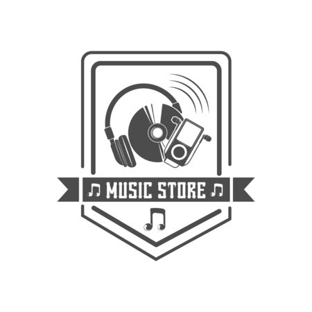 Vector concept for music store. Illustration for print.  イラスト・ベクター素材