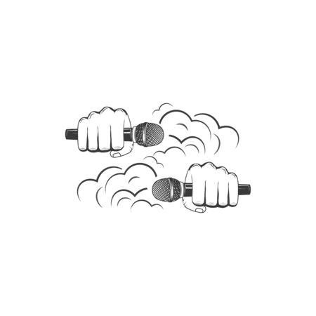 Vector Hands wiht microphone. Design element for printing.