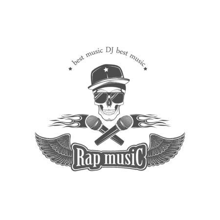 Vector. Música rap. Emblema, símbolo, elemento. Actuación musical. Ilustración de vector