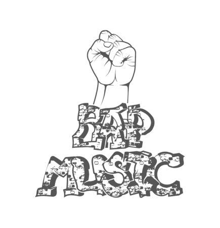 Rap music. Concept of vector musical emblem. Graffiti text and hand. Design element for rap fest, performance, battle, school, studio. Musical symbol.
