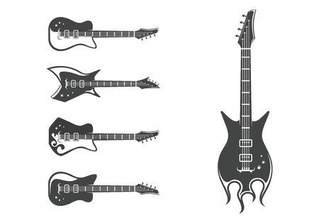 Insieme di vettore delle chitarre elettriche. Strumenti musicali. Chitarre rock. Concetto di progettazione grafica. Emblema, elemento, modello, simbolo, etichetta, segno. Vettoriali