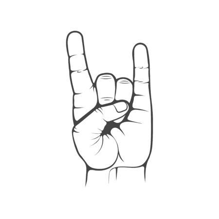 Vector  . Rock hand gesture. Design element for printing.