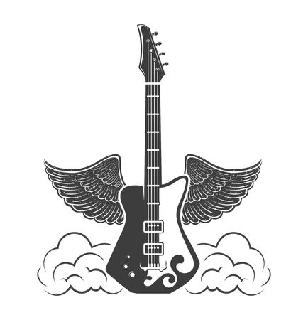 Vector  concept. Graphic design of guitar with wings. Musical rock instrument. Emblem, element, template, symbol, label, sign.
