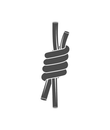 Vector graphic  concept. Climbing equipment.  A tied rope knot, a sea knot, and for rock climbing. Symbol emblem, element, print.