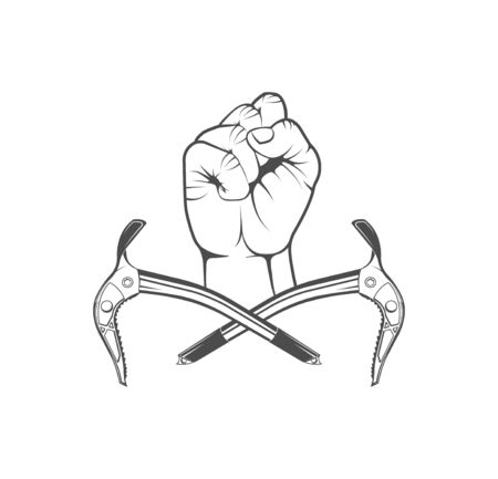 Vector concept. Rock climbing in summer and winter. Hand holds ice ax. Sport, activity, open air, lifestyle. Symbol emblem, element, print.