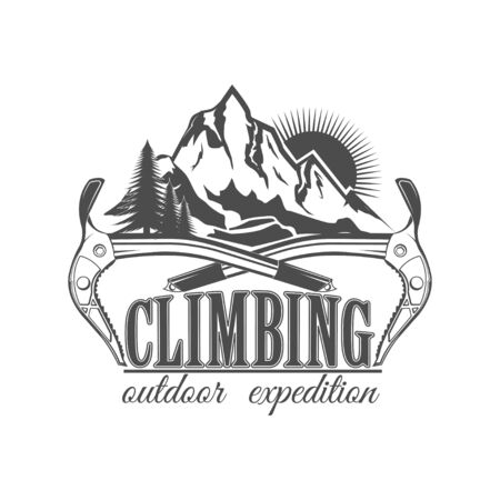 Vector concept. Rock climbing in summer and winter. Landscape, mountain, rock. Active lifestyle. Symbol emblem, element, print.