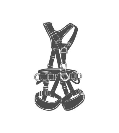 Vector graphic  concept. Climbing equipment. Safety system. Symbol emblem, element, print.