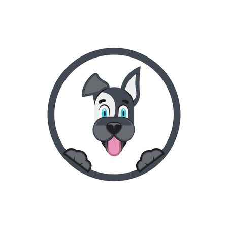 Vector. Dog with frame. Concept of pet label template or frame for business photo. 向量圖像