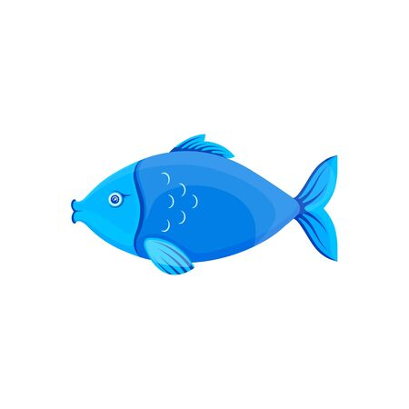 Vector graphic cartoon illustration. Blue fish. Sea fish isolated on white background. Concept illustration for pet shop or pet staff, emblem for advertising, trademark. Illustration