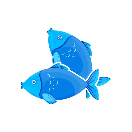 Vector graphic cartoon illustration. Two crossed blue fishes. Sea fish isolated on white background. Concept illustration for  pet shop or pet staff, emblem for advertising, trademark. Illustration