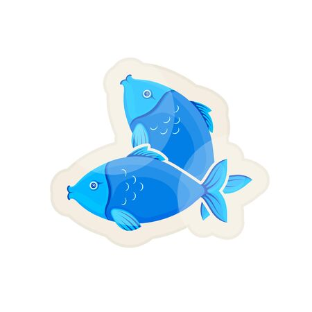 Vector graphic cartoon illustration. Two crossed blue fishes.  Glossy sticker. Sea fish isolated on white background. Concept illustration for pet shop or pet staff, emblem for advertising, trademark.
