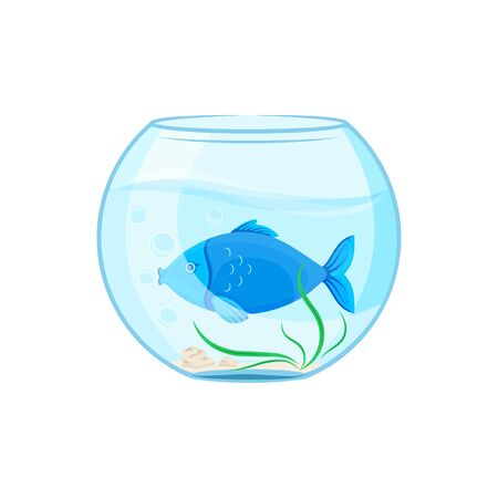 Vector graphic illustration. Glass aquarium with a blue fish. Cartoon character for printing goods for pet store, signboard, pet food, advertising concept. Badge, symbol, emblem, label.