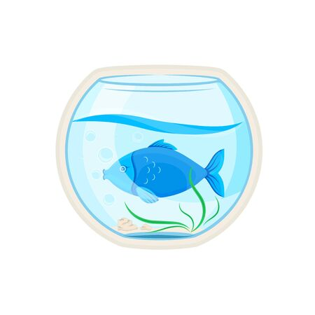 Vector graphic illustration. Sticker. Glass aquarium with a blue fish. Cartoon character for printing goods for pet store, signboard, pet food, advertising concept. Badge, symbol, emblem, label