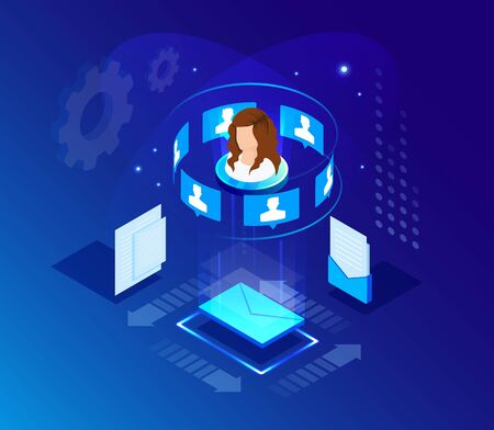Global online email marketing. Vector isometric background design. Template for banner, landing page. Icon, symbol for web and app. Customer, user service strategy. Digital technology illustration.