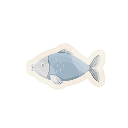 Vector graphic cartoon illustration. Blue fish. Sea fish isolated on white background. Concept illustration for pet shop or pet staff, emblem for advertising, trademark. 矢量图像