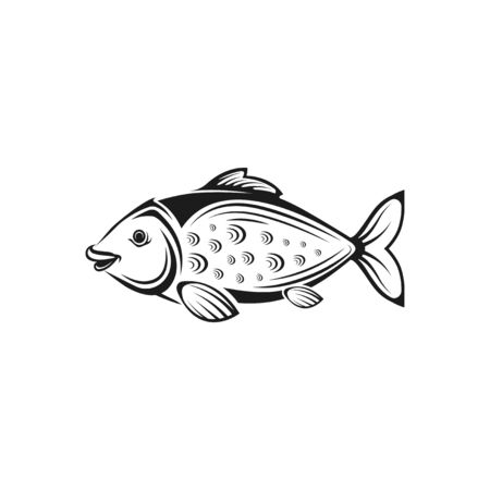 Vector graphic illustration. Black white tropical sea fish. Concept for fish store, restaurant menu. Symbol, sign, emblem, label. Isolated elements on white background.