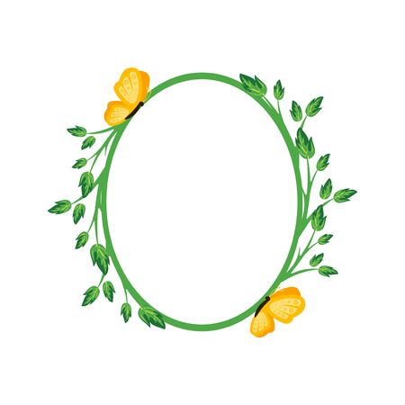 Vector concept green oval photo frame with yellow butterfly. Blank template to decorate the image and photo. Modern elegant graphic design.