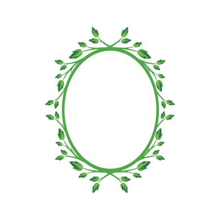 Vector concept oval green photo frame. Blank template to decorate the image and photo. Modern elegant graphic design.