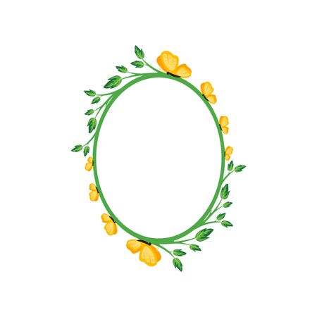 Vector concept green oval photo frame with yellow butterfly. Blank template to decorate the image and photo. Modern elegant graphic design. 写真素材 - 129151474