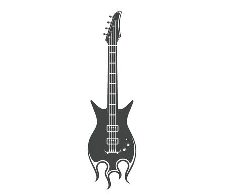 Vector concept. Graphic design of guitar with fire. Musical rock instrument. Emblem, element, template, symbol, label, sign.