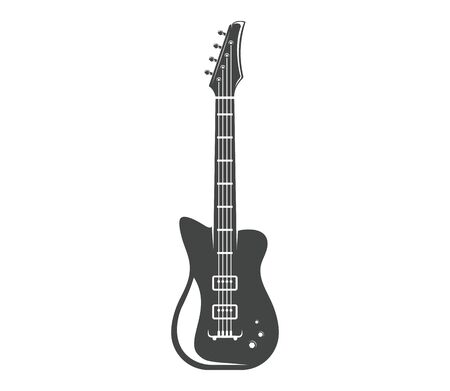 Vector. Guitar. Graphic design of musical instrument. Rock guitar. Graphic design concept. Emblem, element, template, symbol, label, sign.  イラスト・ベクター素材