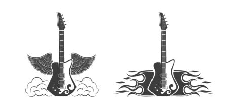 Vector set. Graphic design of electric guitars with wings and with fire. Musical instrument. Rock guitar. Emblem, element, template, symbol, label, sign.