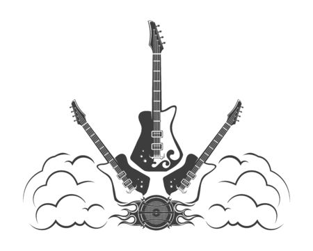 Vector concept. Template with rock guitars for poster, banner. Rock festival poster. Graphic design. Emblem, element, poster,template, symbol, label, sign.  イラスト・ベクター素材