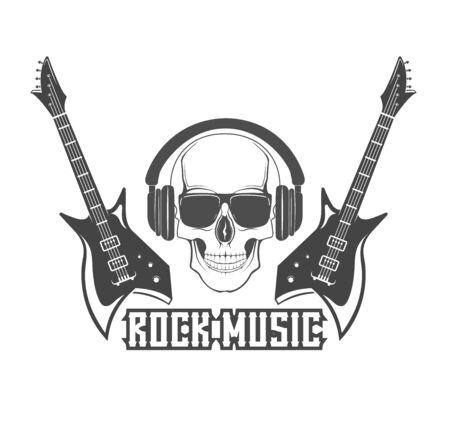 Vector concept. Template with rock guitars for poster, banner. Rock festival poster. Graphic design. Emblem, element, poster,template, symbol, label, sign. 矢量图像