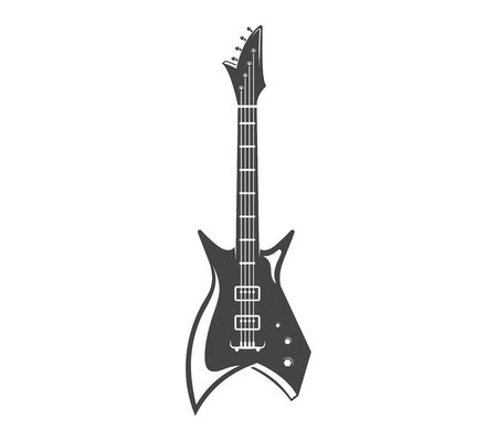 Vector. Guitar. Graphic design of musical instrument. Rock guitar. Graphic design concept. Emblem, element, template, symbol, label, sign. Illustration