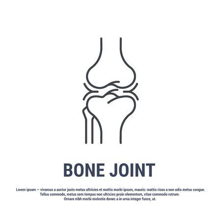Vector icon. Line design. Human bone joint. Bones and structure. Vector icon. Line design. Medicine and anatomy. Anatomical structure of man. Symbol, element, sign, emblem. Concept illustration.and anatomy.