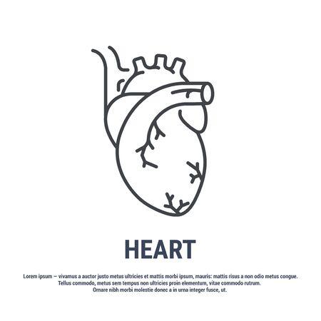 Vector icon. Line design. Human heart. Medicine and anatomy. Anatomical structure of man. Symbol, element, sign, emblem. Concept illustration. Ilustração