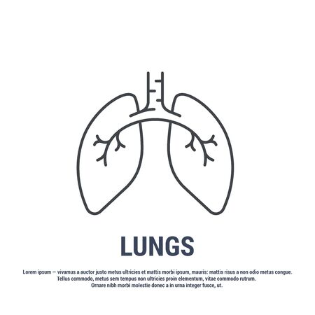 Vector icon. Line design. Lungs. Medicine and anatomy. Anatomical structure of man. Symbol, element, sign, emblem. Concept illustration.