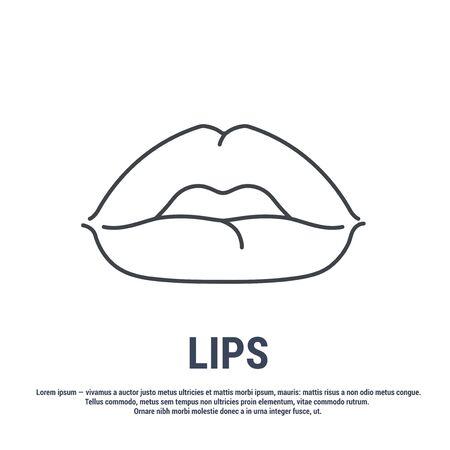 Vector icon. Line design. Lips. Disease and treatment. Symbol, element, sign, emblem. Concept illustration.