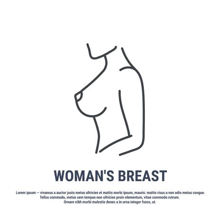 Vector icon. Line design. Female breasts. Anatomical structure of man. Disease and treatment. Symbol, element, sign, emblem. Concept illustration.