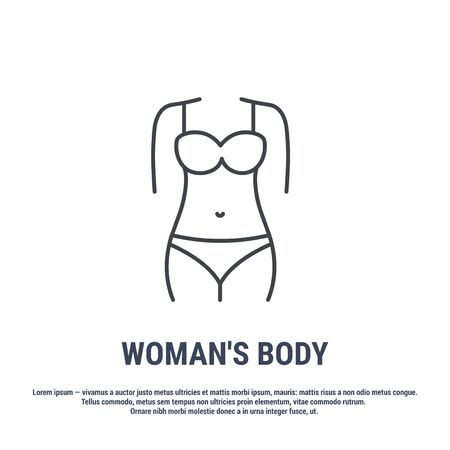 Vector icon. Line design. Female body. Anatomical structure of man. Disease and treatment. Symbol, element, sign, emblem. Concept illustration.