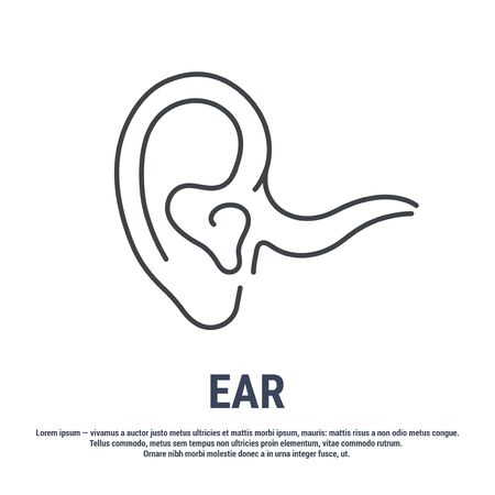 Vector icon. Line design. An ear. Organ of hearing. Anatomical structure. Disease and treatment. Symbol, element, sign, emblem. Concept illustration. 矢量图像
