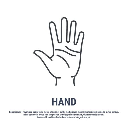 Vector icon. Line design. Hand palm. Anatomical structure of man. Disease and treatment. Symbol, element, sign, emblem. Concept illustration. 矢量图像