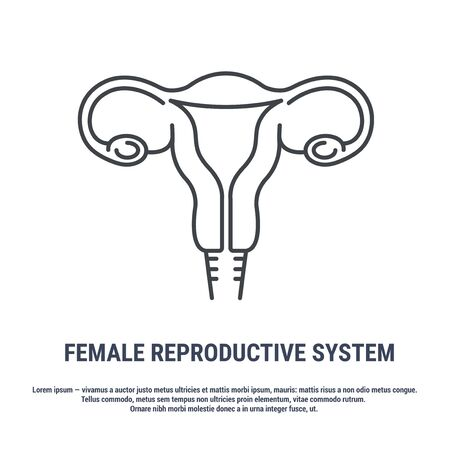 Vector icon. Line design. Female reproductive organ, uterus, ovaries. Anatomical structure of man. Disease and treatment. Symbol, element, sign, emblem. Concept illustration.  イラスト・ベクター素材